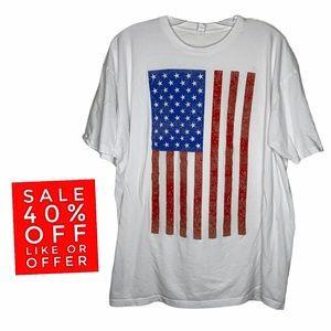 Hanging Flag Print Graphic T Shirt USA Size 2X